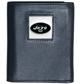 New York Jets Executive Black Leather Trifold Wallet