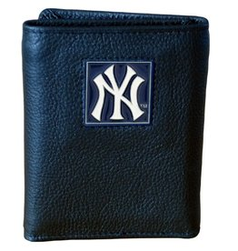 New York Yankees Executive Black Leather Trifold Wallet