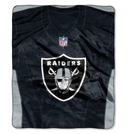 "Oakland Raiders 50in x 60in NFL ""Jersey"" Royal Plush Raschel Throw"