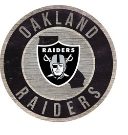 FAN CREATIONS Oakland Raiders Round State Sign