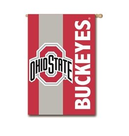 "EVERGREEN Ohio State Buckeyes 28"" x 44"" Striped House Flag"