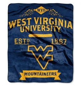 "West Virginia Mountaineers 50in x 60in NCAA Royal Plush ""Label"" Raschel Throw"