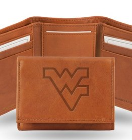 RICO INDUSTRIES West Virginia Mountaineers Genuine Leather Vintage Trifold Wallet