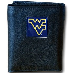 West Virginia Mountaineers Executive Black Leather Trifold Wallet