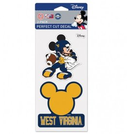 WINCRAFT West Virginia Mountaineers Set of Two DISNEY 4x4 Perfect Cut Decals