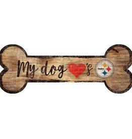 FAN CREATIONS Pittsburgh Steelers Dog Bone Wood Sign