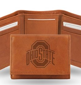 Ohio State Buckeyes Genuine Leather Vintage Trifold Wallet