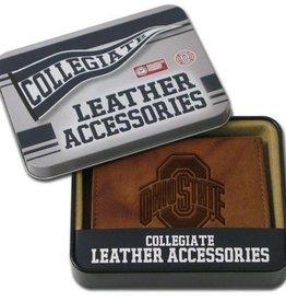 Ohio State Buckeyes Genuine Leather Vintage Billfold Wallet