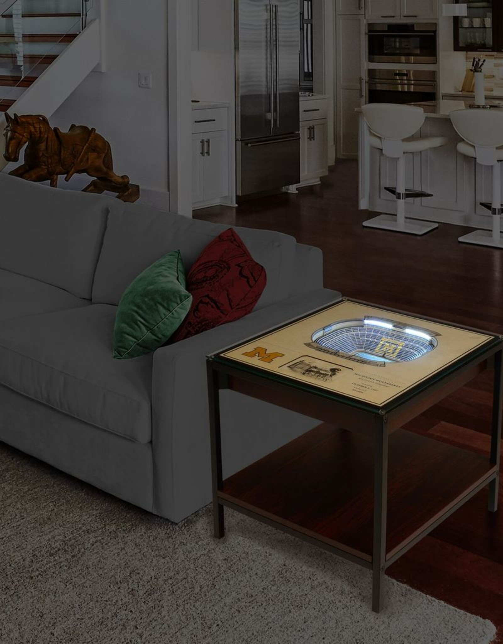 YOU THE FAN Michigan Wolverines LED Lighted Stadium View End Table