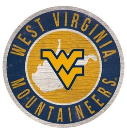 FAN CREATIONS West Virginia Mountaineers Round State Sign