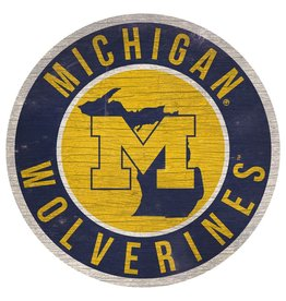 FAN CREATIONS University of Michigan Wolverines Round State Sign