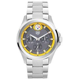 JACK MASON Pittsburgh Steelers Jack Mason Men's Alumni Silver Multi-Function Watch