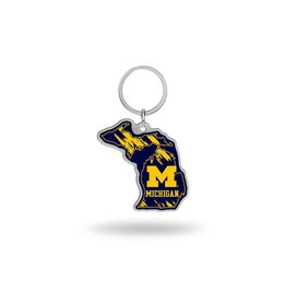 Michigan Wolverines State Shaped Key Ring