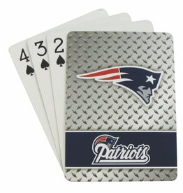 PRO SPECIALTIES GROUP New England Patriots Steel Grid Playing Cards