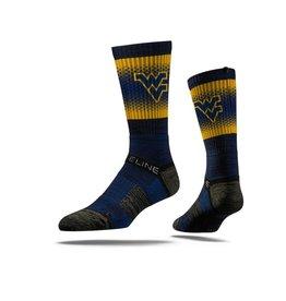 STRIDELINE West Virginia Mountaineers Strideline Logo Diamonds Performance Crew Socks