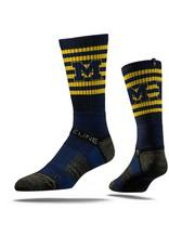 STRIDELINE Michigan Wolverines Strideline Block M Striped Performance Crew Socks