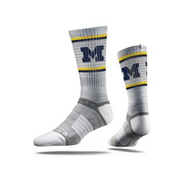 STRIDELINE Michigan Wolverines Strideline Grey Striped Performance Crew Socks