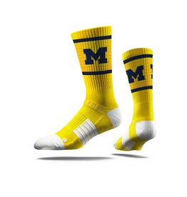 STRIDELINE Michigan Wolverines Strideline Logo Performance Crew Socks
