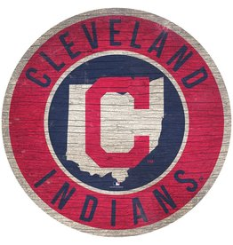 FAN CREATIONS Cleveland Indians Round State Sign