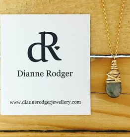 Dianne Rodger Small Petal Necklace- Labradorite, 14 Kt Yellow Gold Fill, 18""