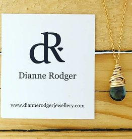 Dianne Rodger Small Petal Necklace- Blue Quartz, 14Kt Gold Fill, 18""