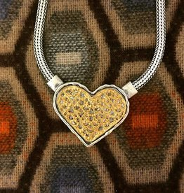 Shablool Sterling Silver and Gold Heart Necklace 18""