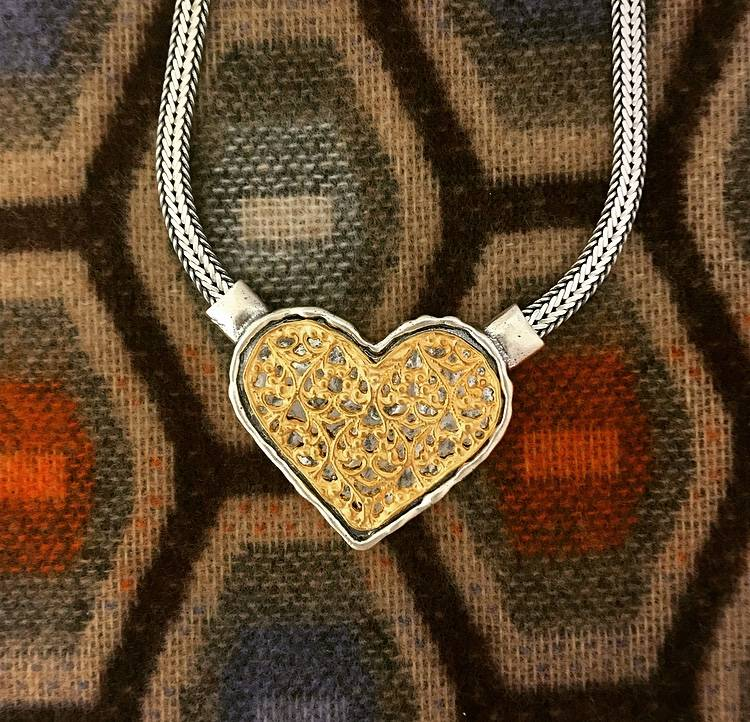 """Shablool Sterling Silver and Gold Heart Necklace 18"""""""