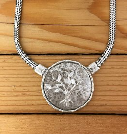 "Shablool Sterling Silver Tree of Life Medallion on 17"" Chain"