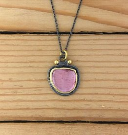 "TYKHE TYKHE- Pink Tourmaline Pendant on 16"" Chain"