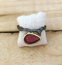 TYKHE Tykhe Pink Tourmaline and Textured Band Ring Size 8
