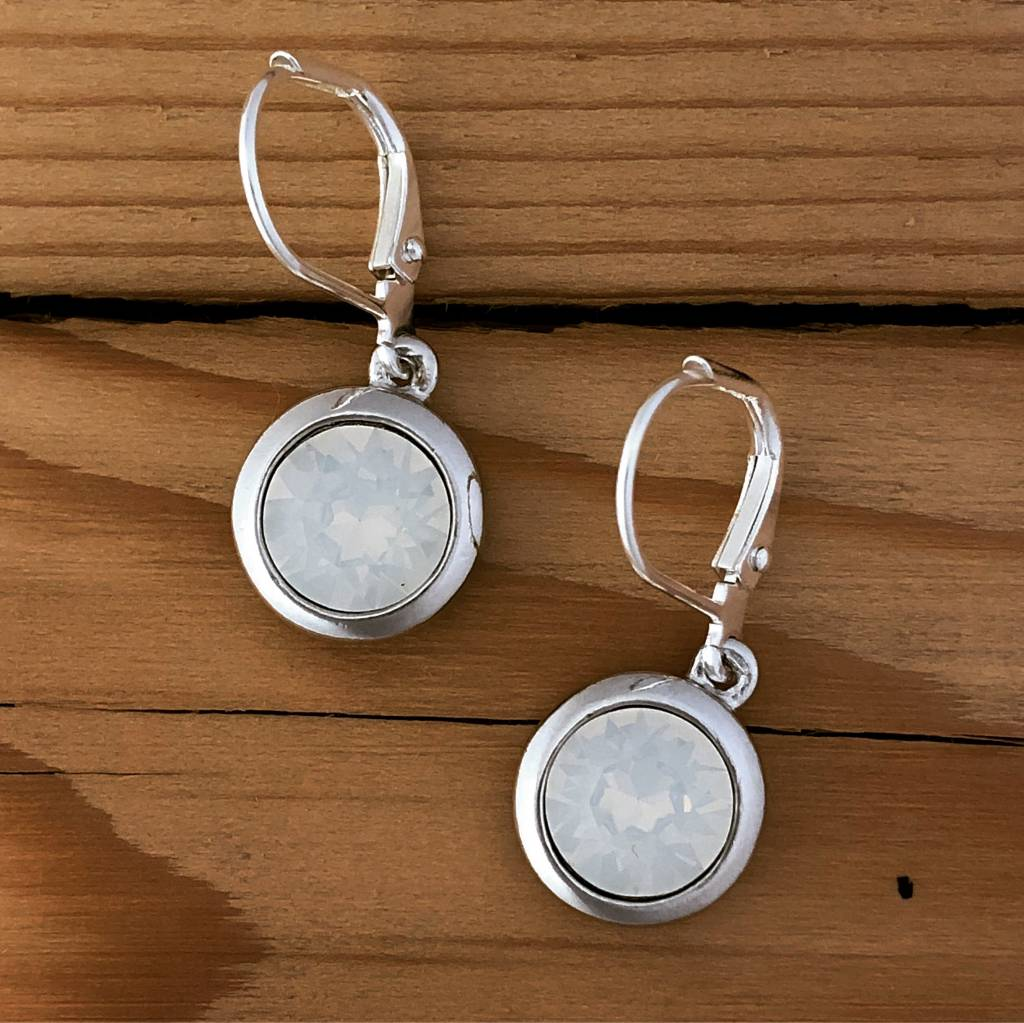Merx Merx Crystal Drop Earring- White opal