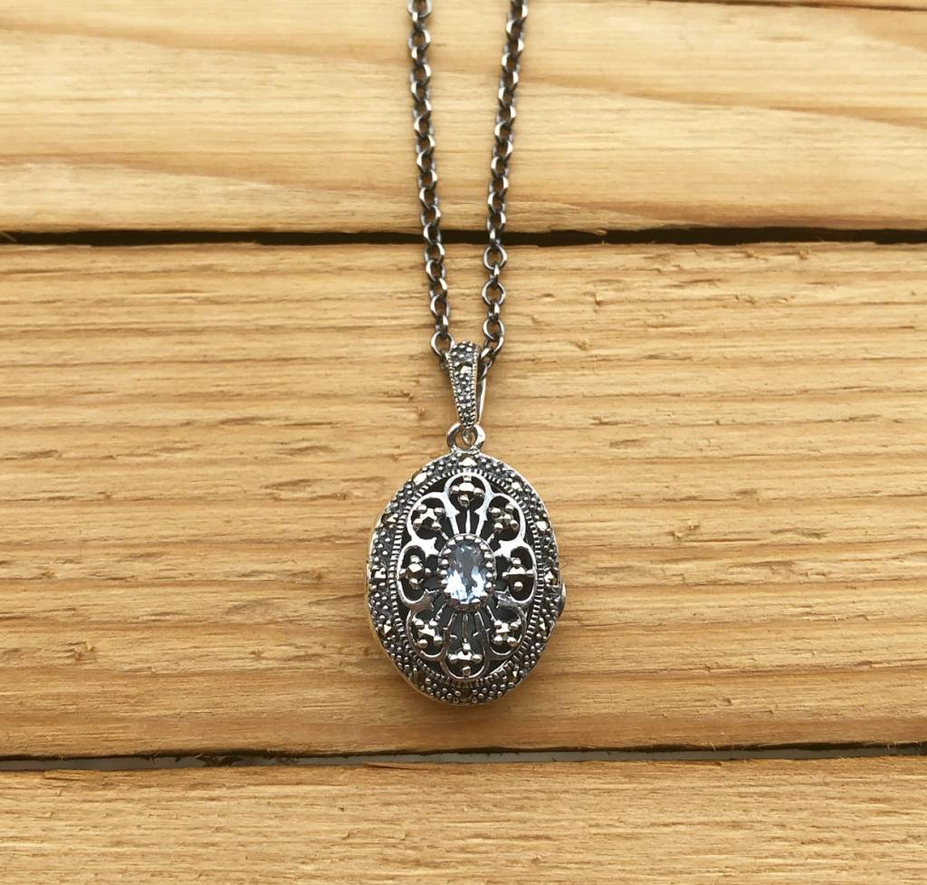 Larus Sterling Silver Marcasite Locket with Blue Topaz