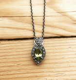 Larus Sterling Silver Marcasite and Peridot Pendant on Chain