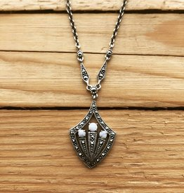 Larus Sterling Silver Marcasite and Opal Necklace