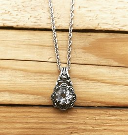 Larus Cubic Zirconia & Marcasite Flower Necklace