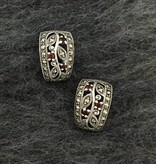 Larus Sterling Silver Marcasite and Garnet Curved Stud