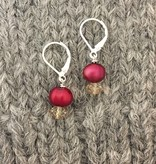 Hi Ho Silver Red Freshwater Pearl and Champagne Swarovski Crystal Earring