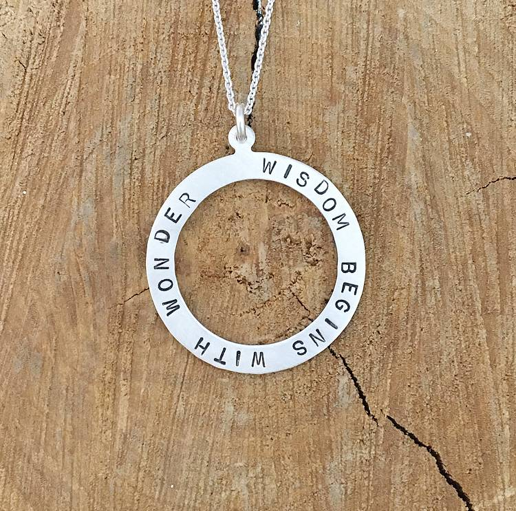 Andrea Waines Large Halo 'Wisdom Begins with Wonder' Necklace