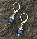 Hi Ho Silver Midnight Blue and Clear Swarovski Crystal Earring