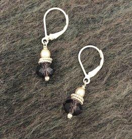Hi Ho Silver Plum Swarovski Crystal and Freshwater Pearl Earring