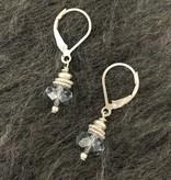 Hi Ho Silver Grey Swarovski Crystal and Sterling Silver Earring