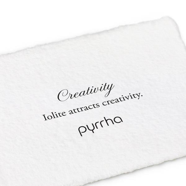 "Pyrrha Pyrrha- Iolite Wrapped Signature Attraction Charm: ""Creativity"""