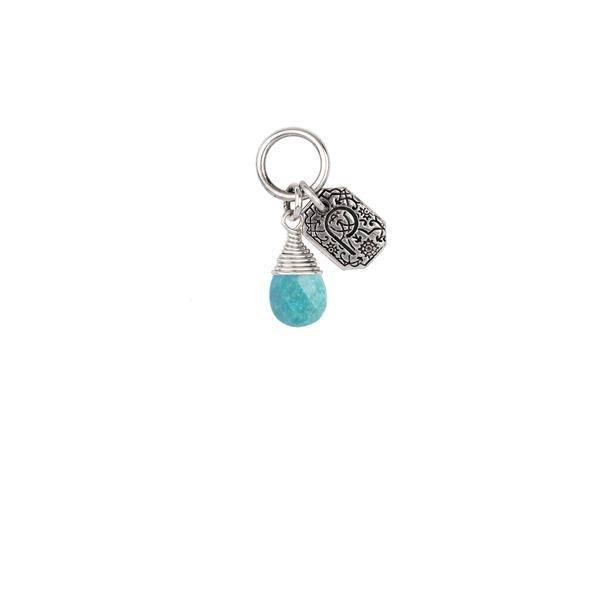"Pyrrha Pyrrha- Turquoise Wrapped Signature Attraction Charm: ""Friendship"""
