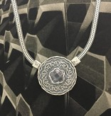 Shablool Sterling Silver Round Stationed Pendant with Clear Quartz