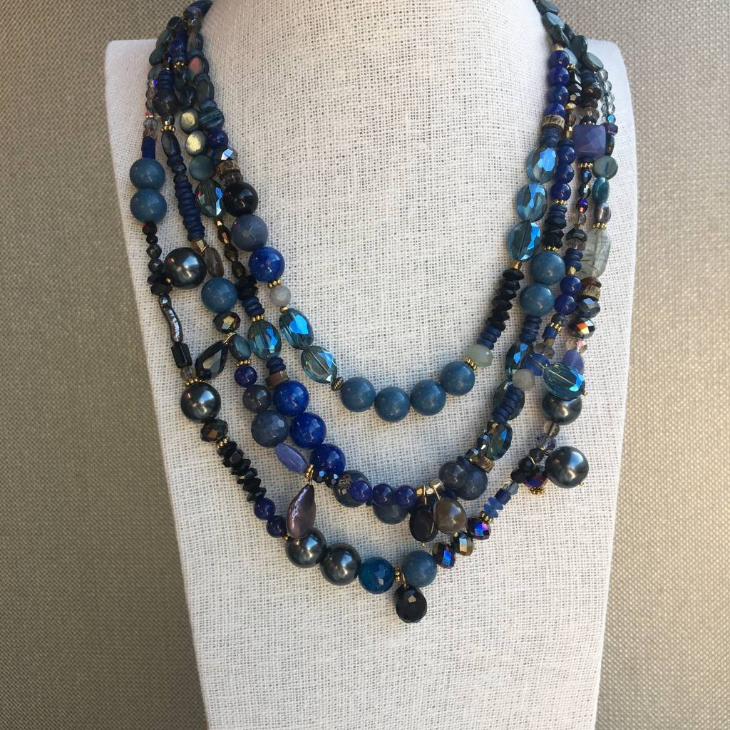 Merx Multi Layer Blue Genuine Stone and Crystal Necklace