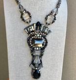 Grey and Black Swarovski Crystal Necklace