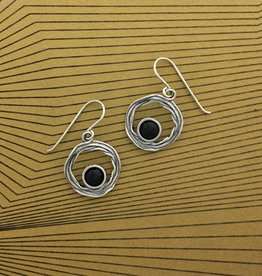 Shablool Sterling Silver and Black Onyx Earring