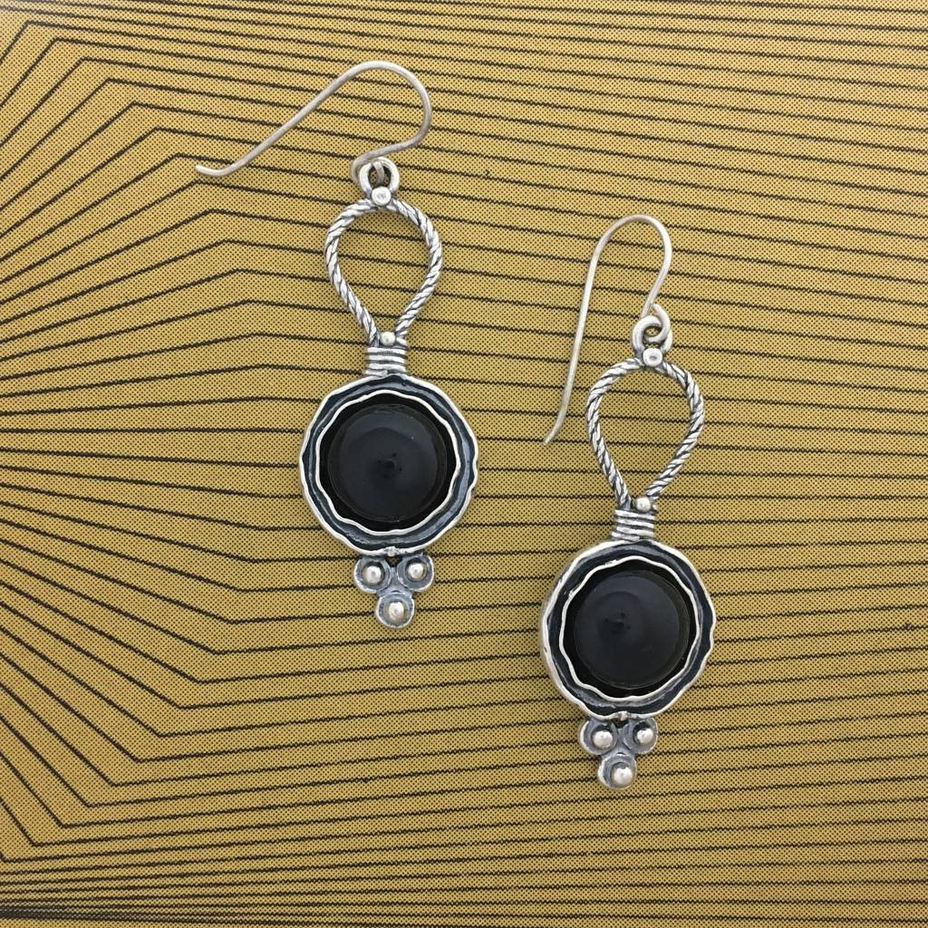 Shablool Sterling Silver and black Onyx Earrings with Cubic Zirconia