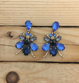 Blue Crystal Bee Earrings