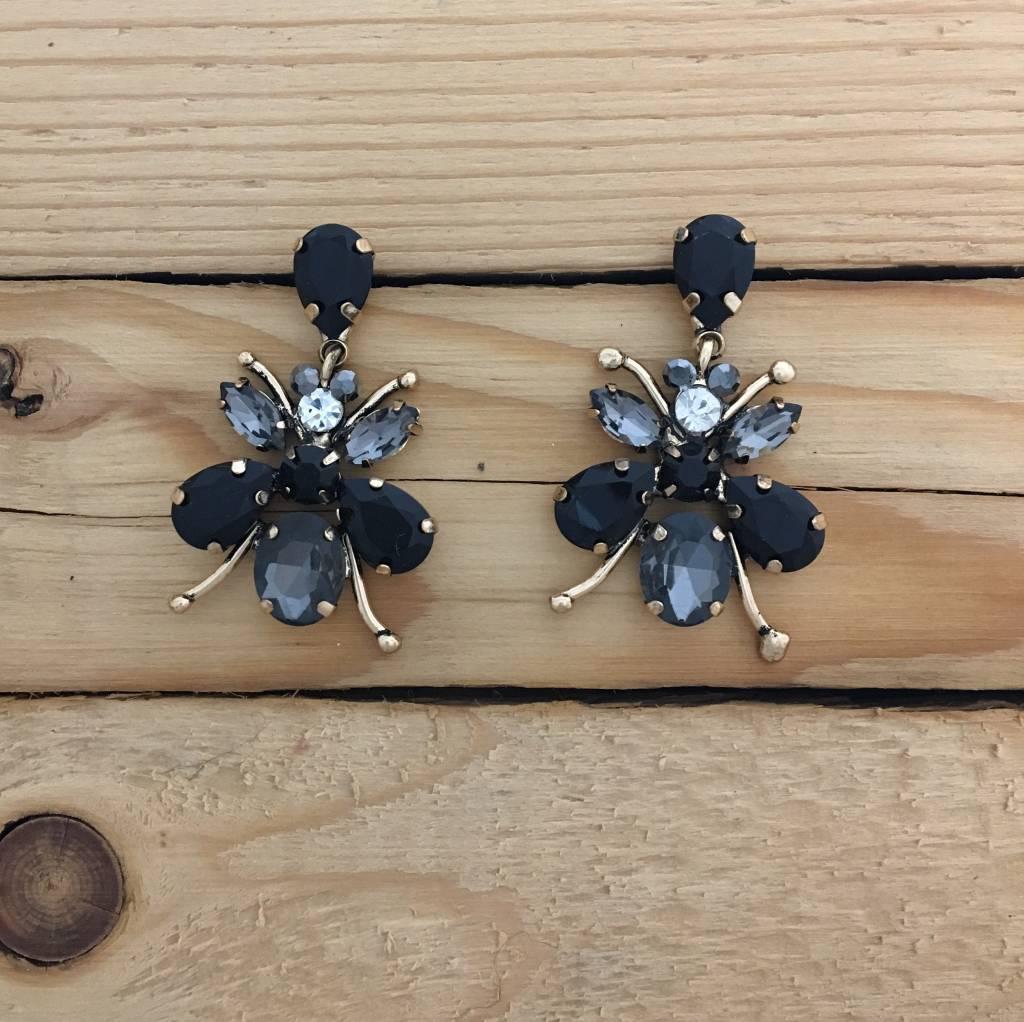 Black Crystal Bee Earring
